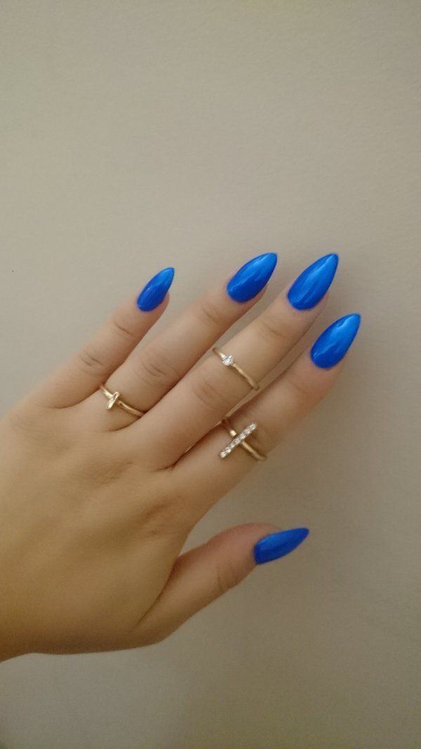 Cobalt Blue Almond Nails Cobalt Blue Nails Blue Nail Designs Almond Acrylic Nails