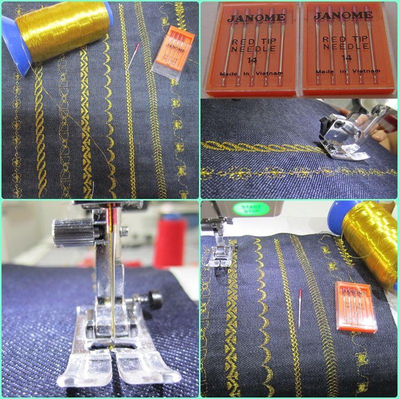 La Aguja Roja Es Ideal Para Coser Y Bordar Con Hilos Metálicos Ya Que Tiene El Sewing Machine Sewing Machine Feet Janome