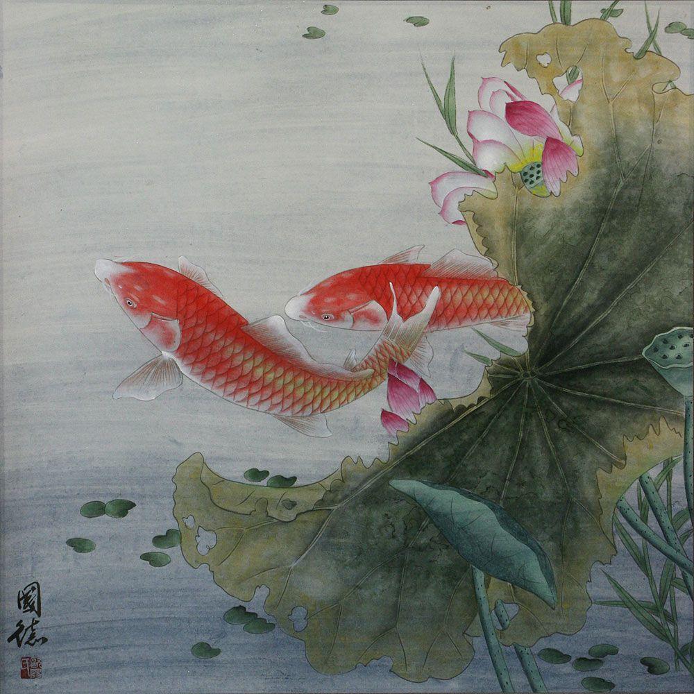 Wall D\u00e9cor Gift Artwork Koi Fish Lotus Flowers Original Art Watercolor Painting Flower Artwork