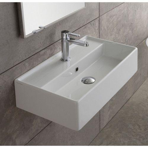 Teorema Ceramic 16 Wall Mount Bathroom Sink With Overflow Wall