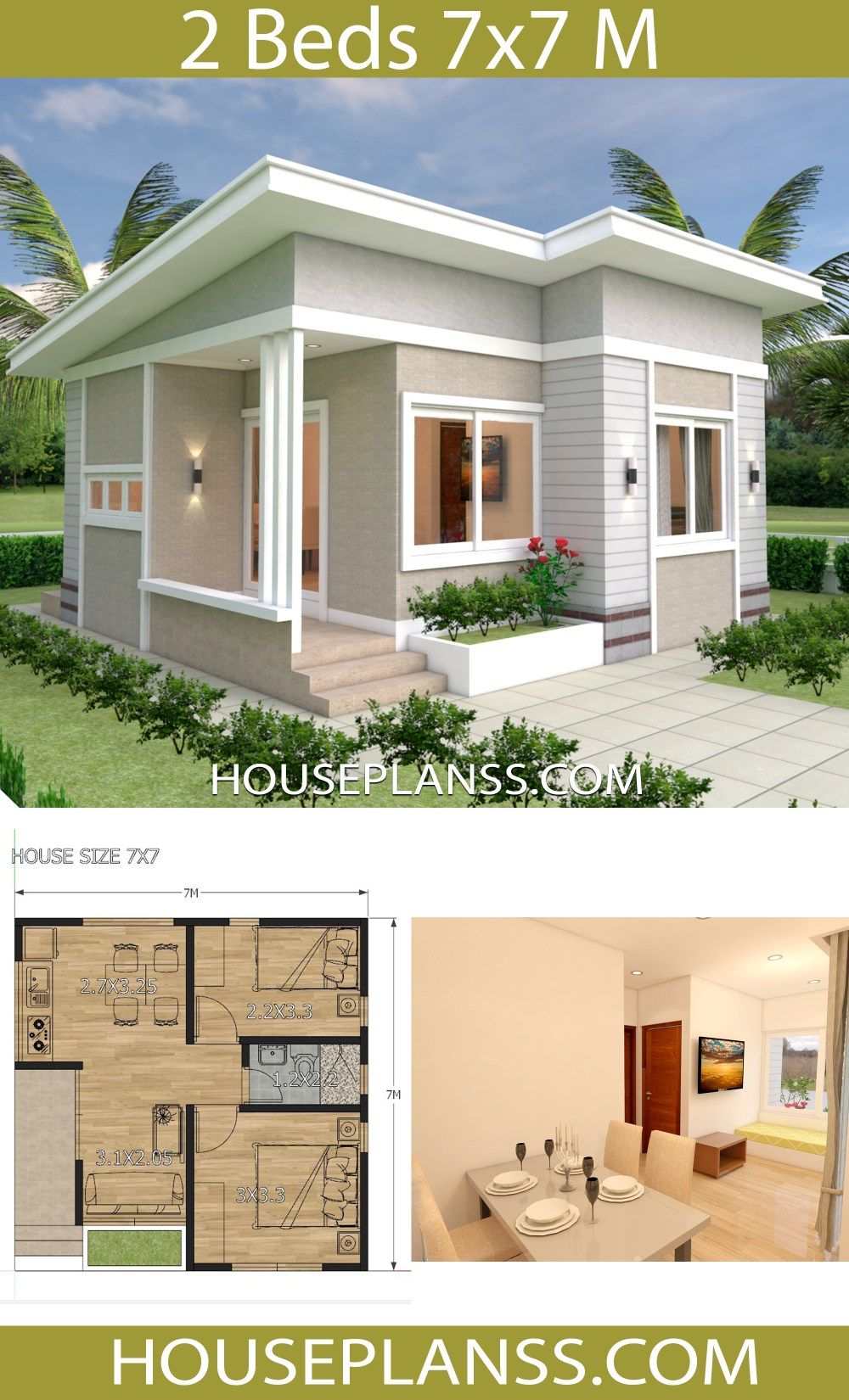 Small House Design Plans 7x7 With 2 Bedrooms House Plans 3d Small House Design Plans Small House Design Modern House Plans