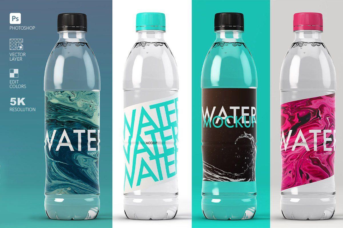 Juice Bottles On The Floor Modern Water Bottles Bottle Mockup Water Bottle Label Design