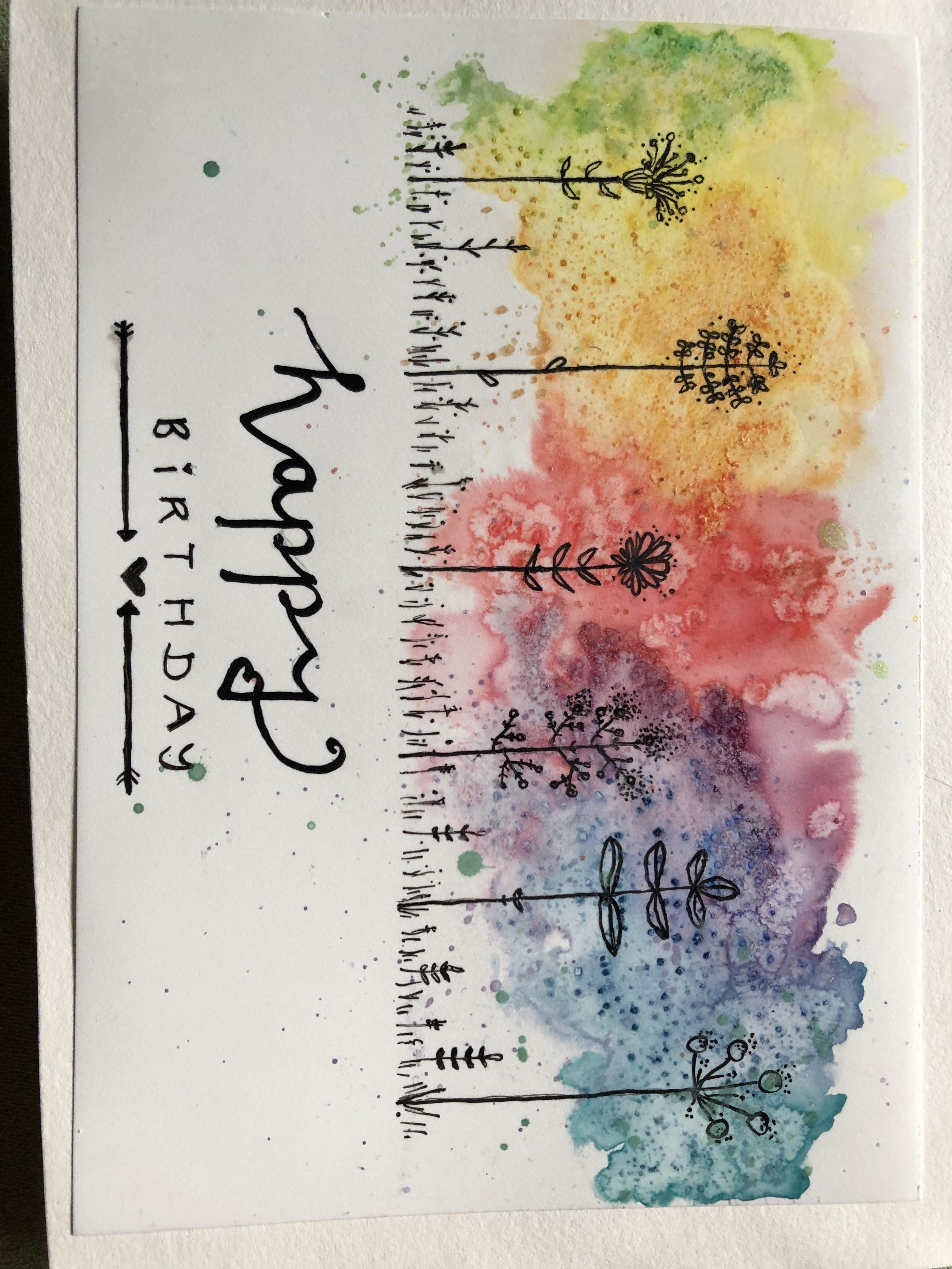 Geburtstagskarte Aquarell Auf Steinpapier Und Tusche Aquarell