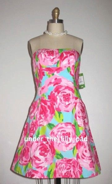 7d65d0613eadd6 NWT Lilly Pulitzer BLOSSOM Floral Pink DRESS 10 12 14 First Impression  Strapless
