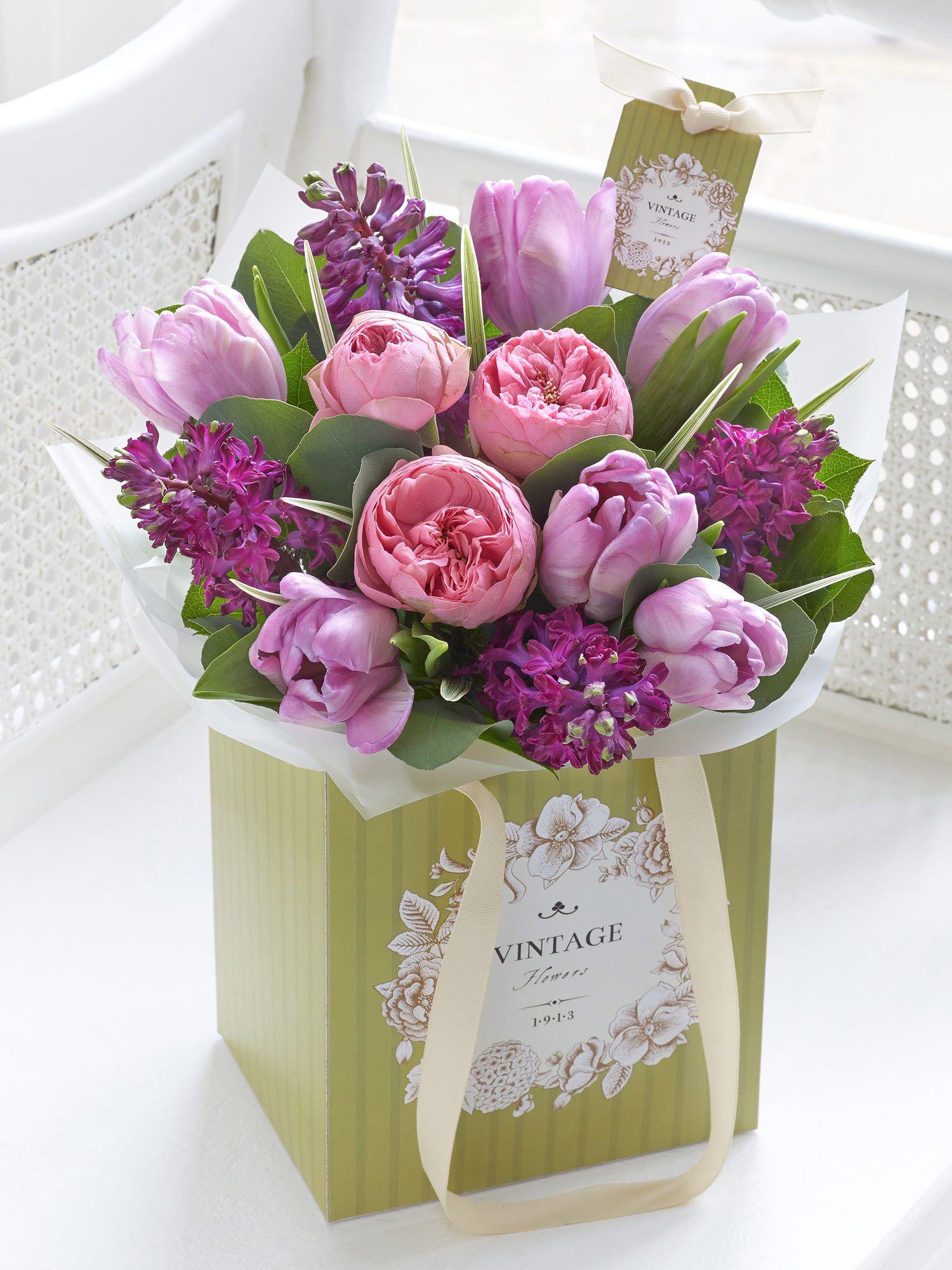 Tulip hyacinth and rose gift bag interflora ti pinterest flower boxes mightylinksfo