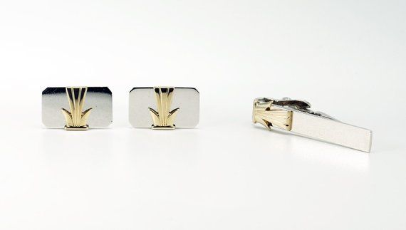 1b2bb5d6e221 Sterling Silver Cufflinks, Sterling Silver Tie Clip, Cufflinks and Tie Clip,  Vintage Swank Art Deco