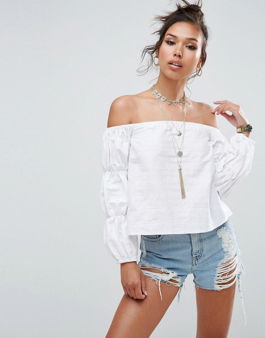 d213080a968 ASOS Off Shoulder Top In Self Stripe and Gathered Sleeve - White ...