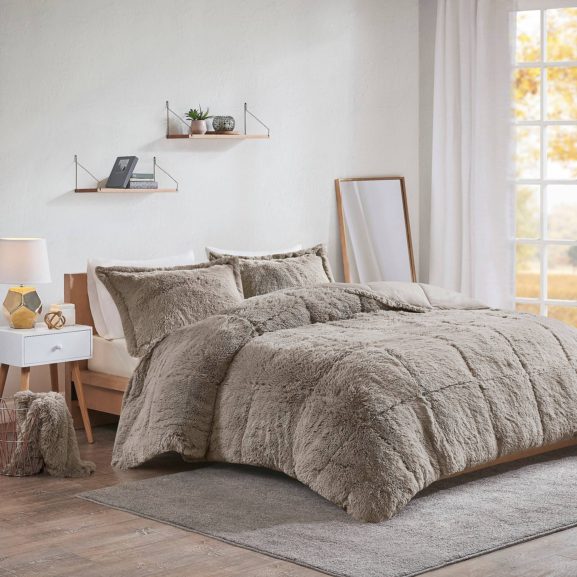 Intelligent Design Malea Shaggy Faux Fur Comforter Set Comforter Sets Fur Comforter Grey Comforter Sets