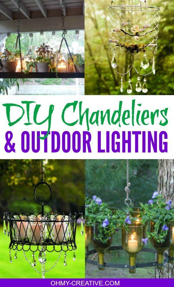 Diy Chandeliers And Outdoor Lighting Outdoor Chandelier Solar Lights Garden Diy Outdoor