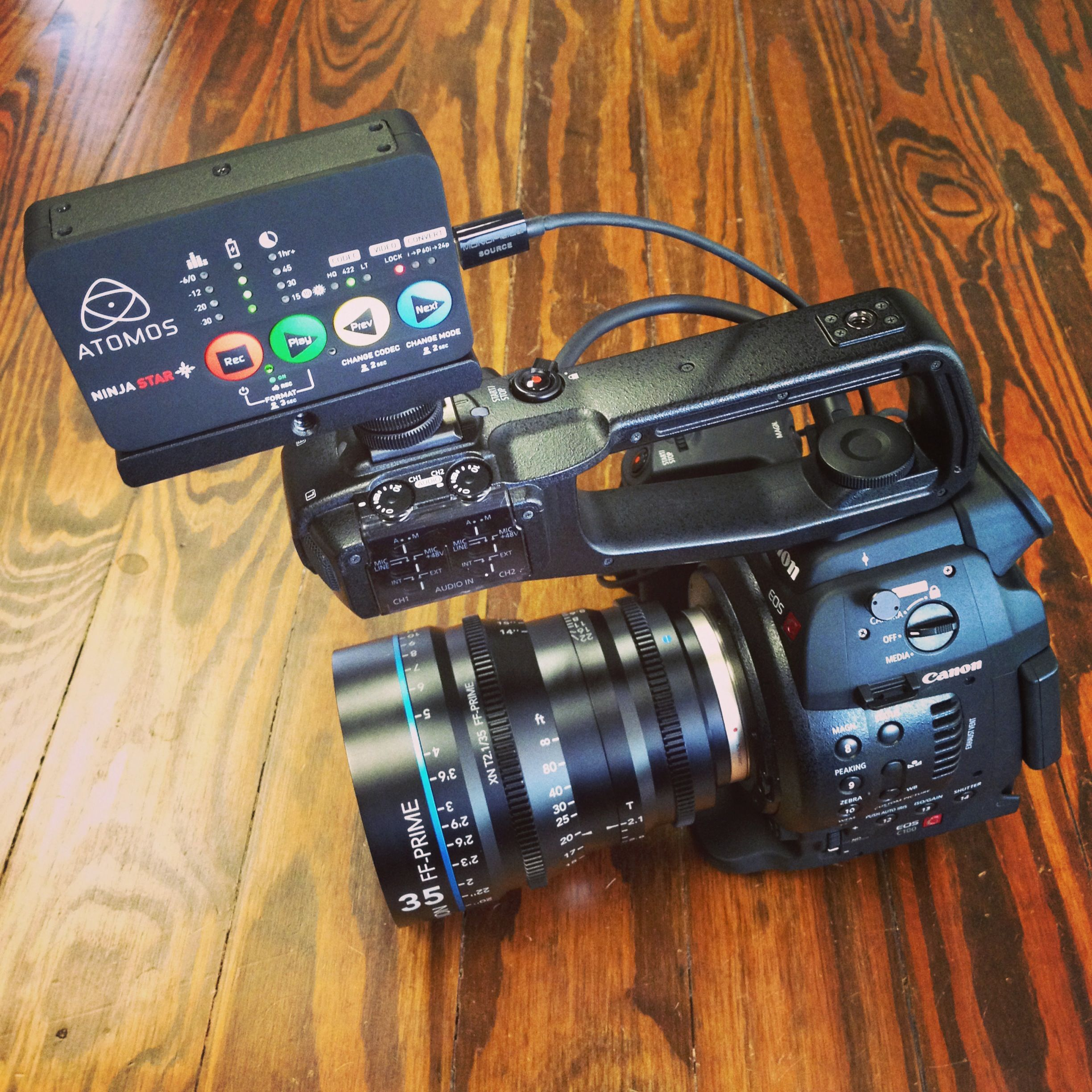 Atomos Ninja Star Mounted to Canon C100 Camera with