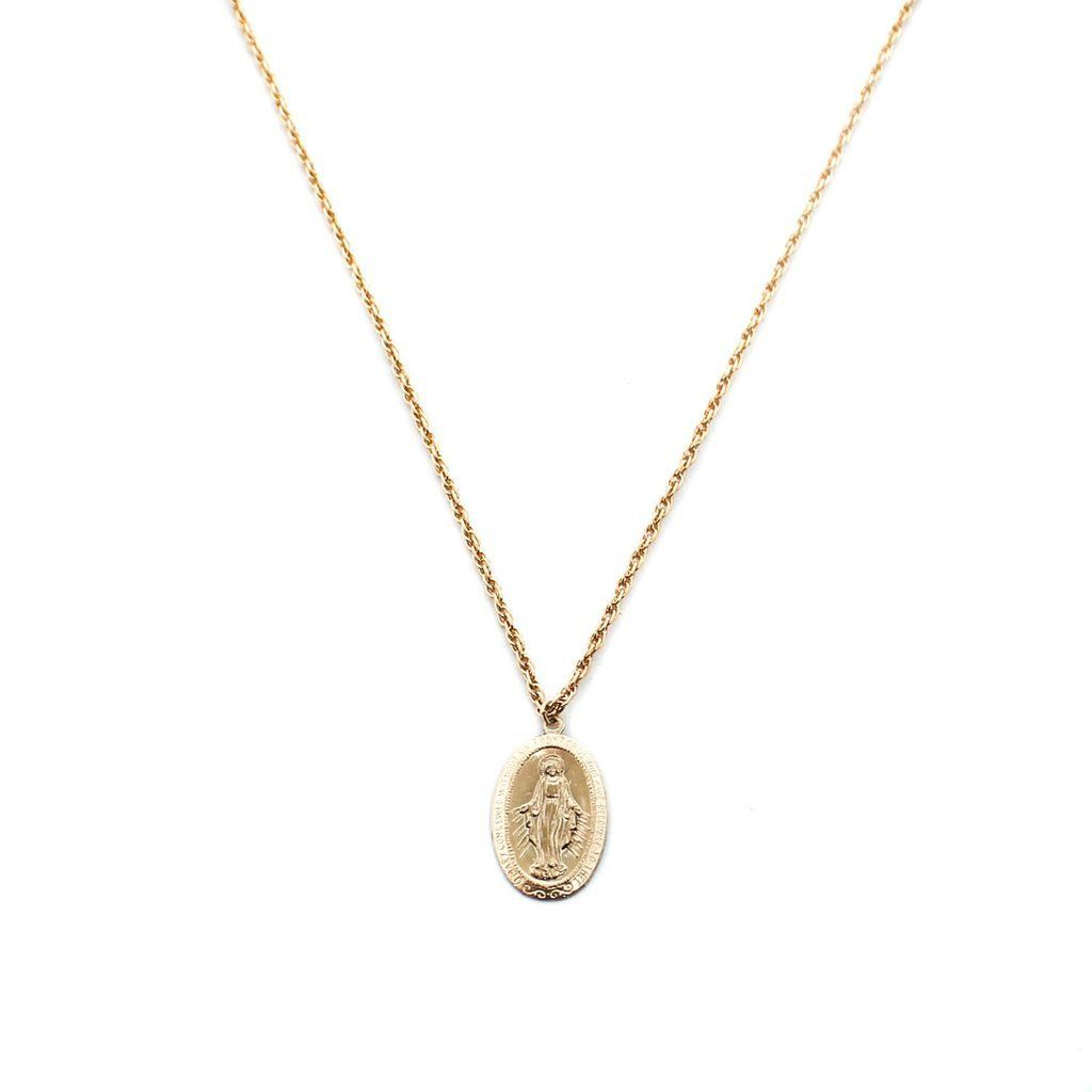 Dainty gold necklace gold filled mother mary charm xmm k