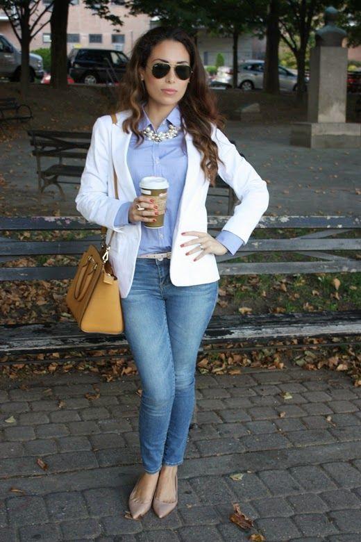 4f169c41c look jeans para oficina, como combinar los jeans de mujer, como ...