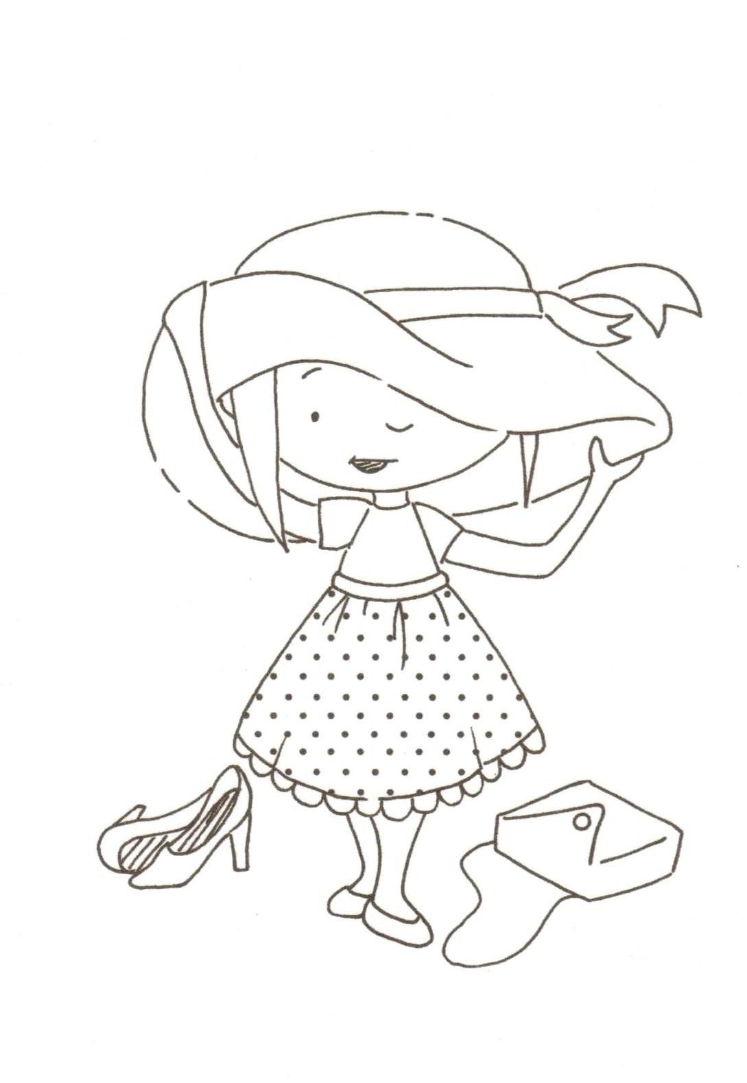 little girl playing dress up Digital stamps, Digi stamps