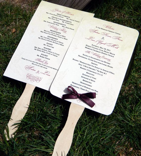 Scrolls Paddle Fan Wedding Program Set Of 25 Choose Your Design Or Custom