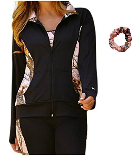 fdb2cd40e70c1 Mossy Oak Pink Jacket Womens Plus Size Camo Activewear Jacket + Scrunchie ( XXL) Camo