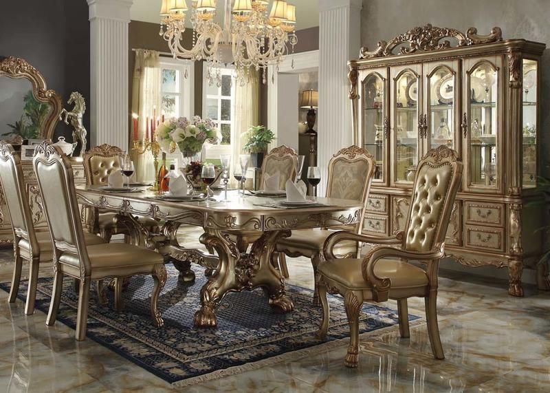 Acme Furniture Dresden Gold 7 Piece Trestle Dining Table Set