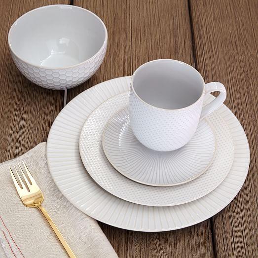 Textured Dinnerware Set - Mix + Match | west elm & Textured Dinnerware Set - White | Dinnerware Mix match and Canapes