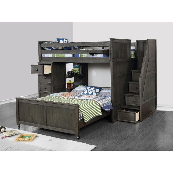 Best Raub Twin Over Full L Shaped Bunk Bed With Bookcase And 400 x 300