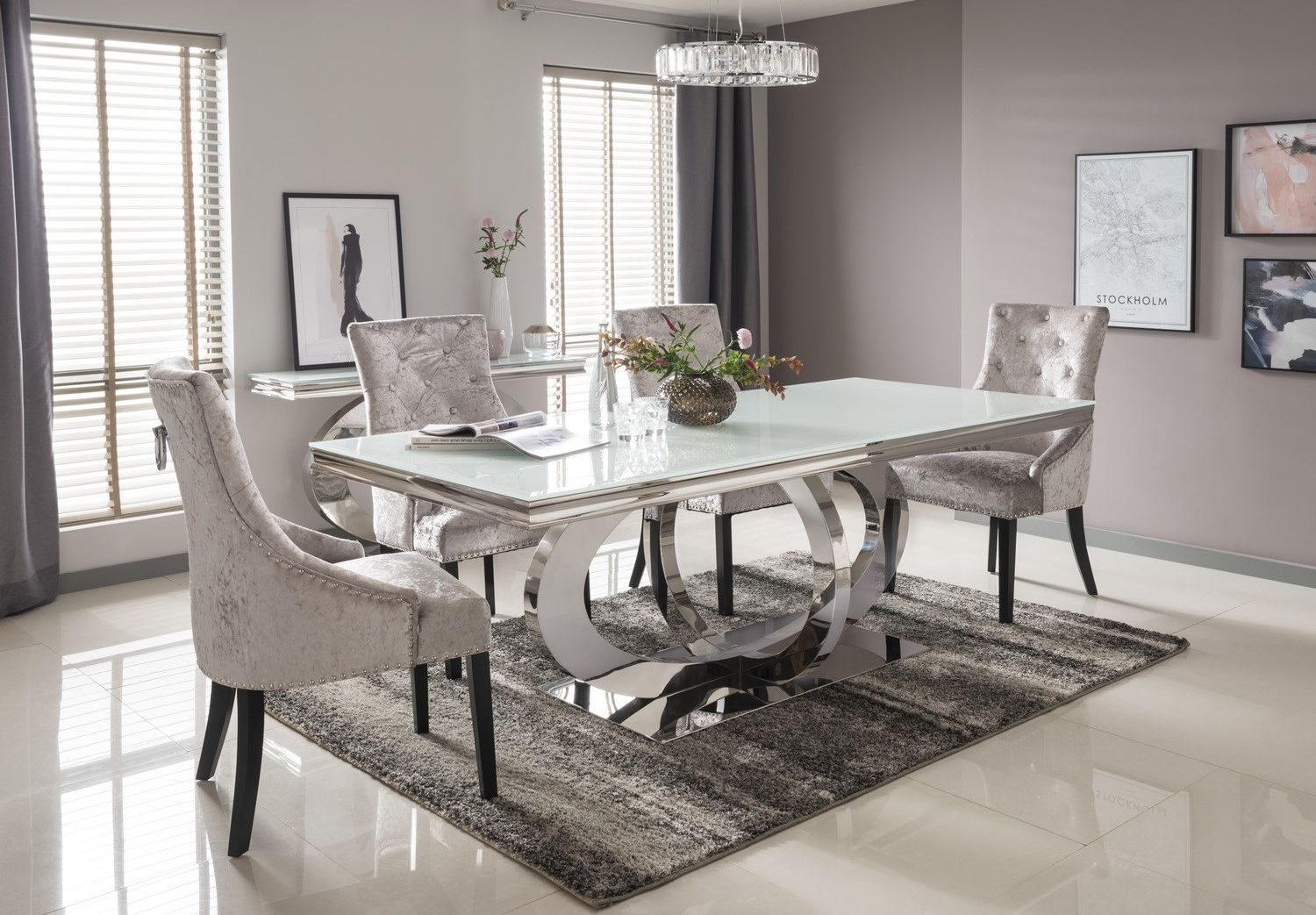 Vida Living Orion White Glass Dining Table 180cm Chrome Dining