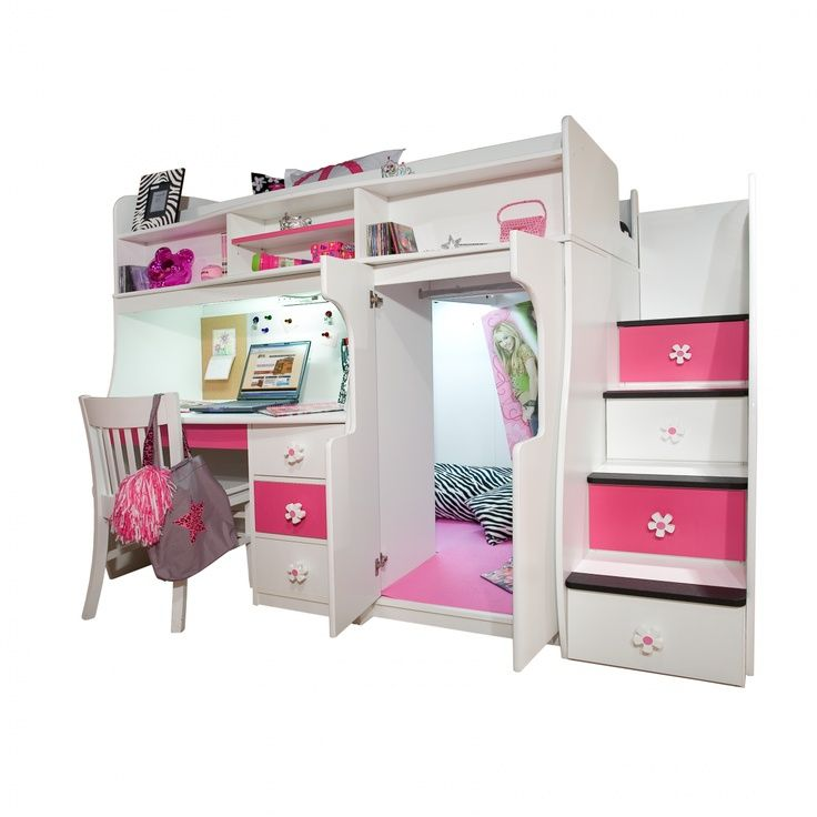 Play and study loft bed play study loft bed w storage for Cute bunk bed rooms