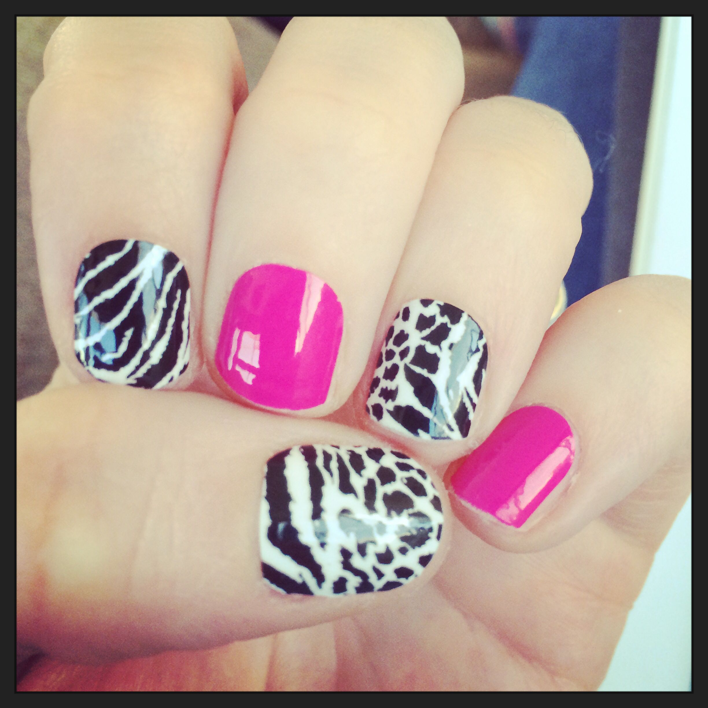 My custom animal print with haute pink | Nails, Jamberry ...