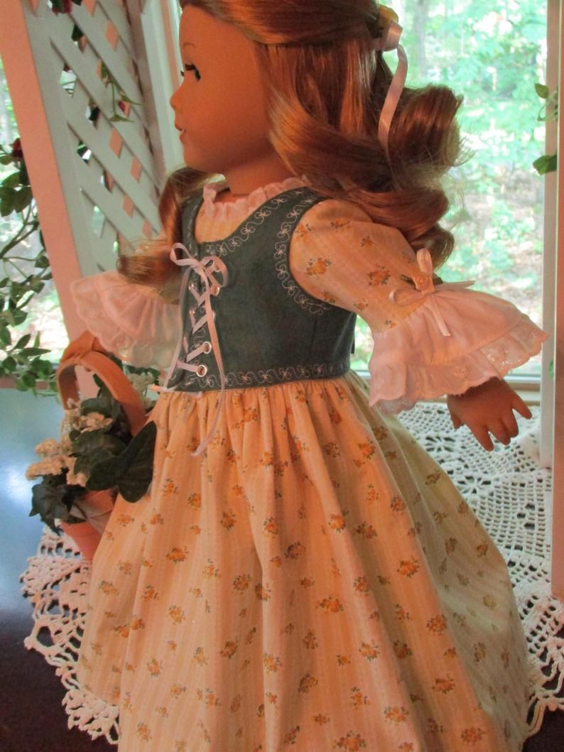 Yellow and Green Colonial Doll Dress or Princess Gown to fit your 18 American Girl Doll