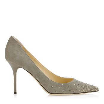 b53ad1454a3 Jimmy Choo Agnes Pebble Suede Pointy Toe Pumps Silver Studs Womens ...