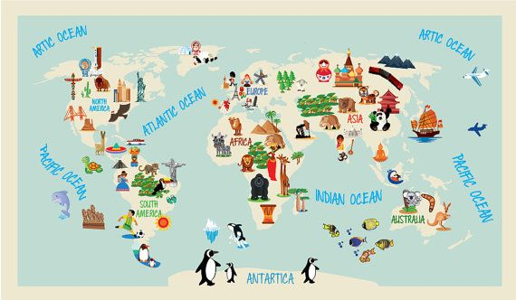 World map kids repositionable adhesive fabric p r e s c h o o l world map kids repositionable adhesive fabric gumiabroncs Gallery