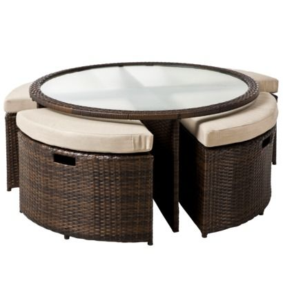 Threshold Rolston 5 Piece Wicker Patio Coffee Table With