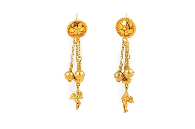 Antique 18K yellow gold dangle earrings with angel charms, measure 2 inches long, weigh 7.39g.