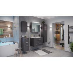 Bathroom furniture set Firenze 80 (5-piece / C) incl. Mirror cabinet anthracite silk gloss emotion#5piece #anthracite #bathroom #cabinet #emotion #firenze #furniture #gloss #incl #mirror #set #silk