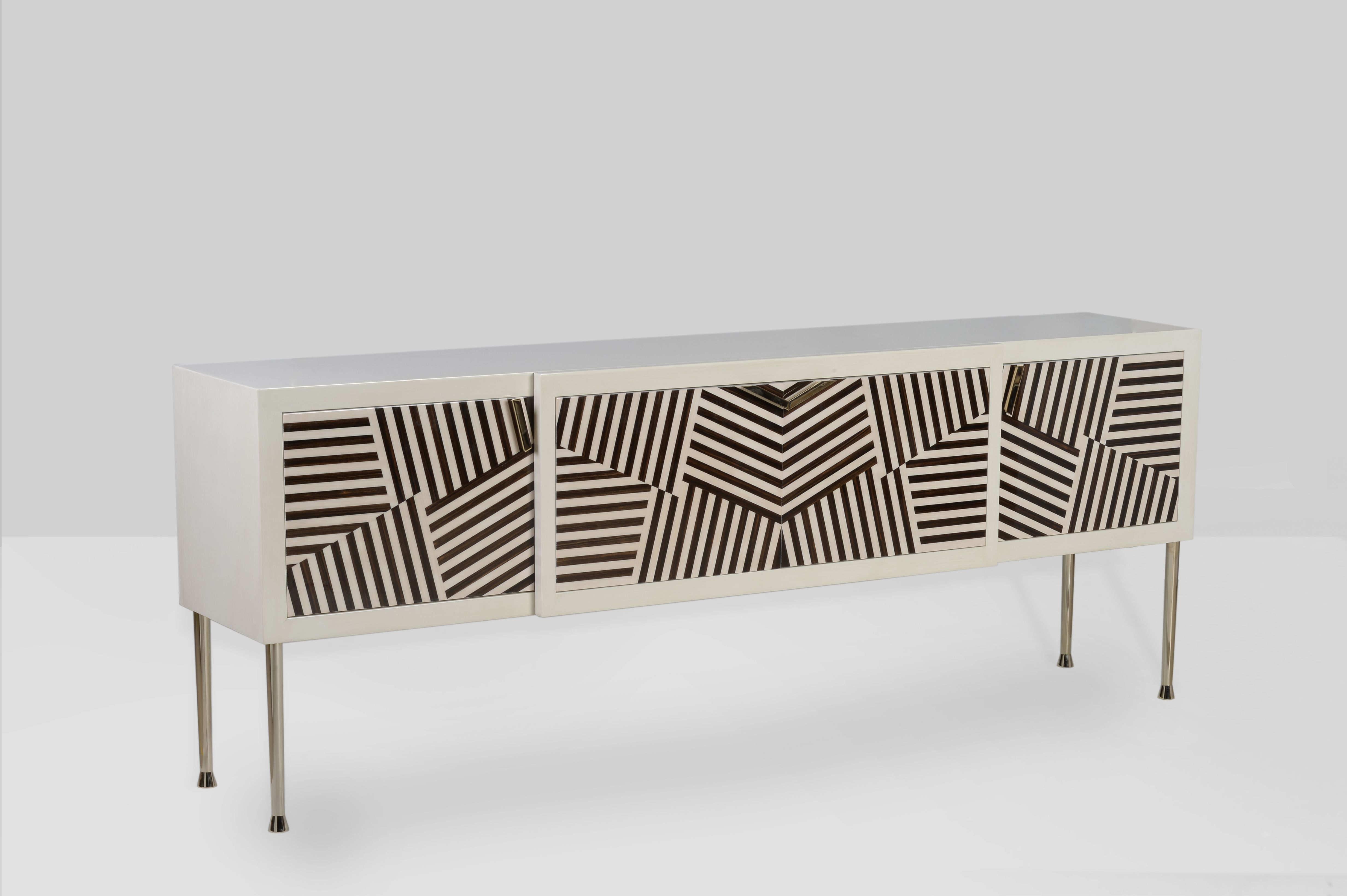 Wynwood Credenza Iconic Sideboard In A High Gloss Patinated Ivory Lacquer With Inlays Of Macassar Eb Furniture Modern Buffets And Sideboards Furniture Design