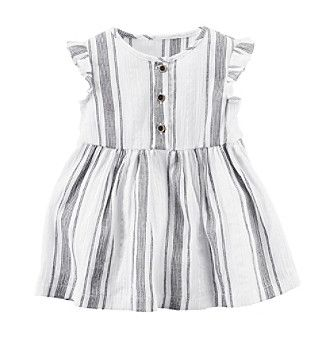 Carter's Baby Girls' Flutter Sleeve Striped Dress