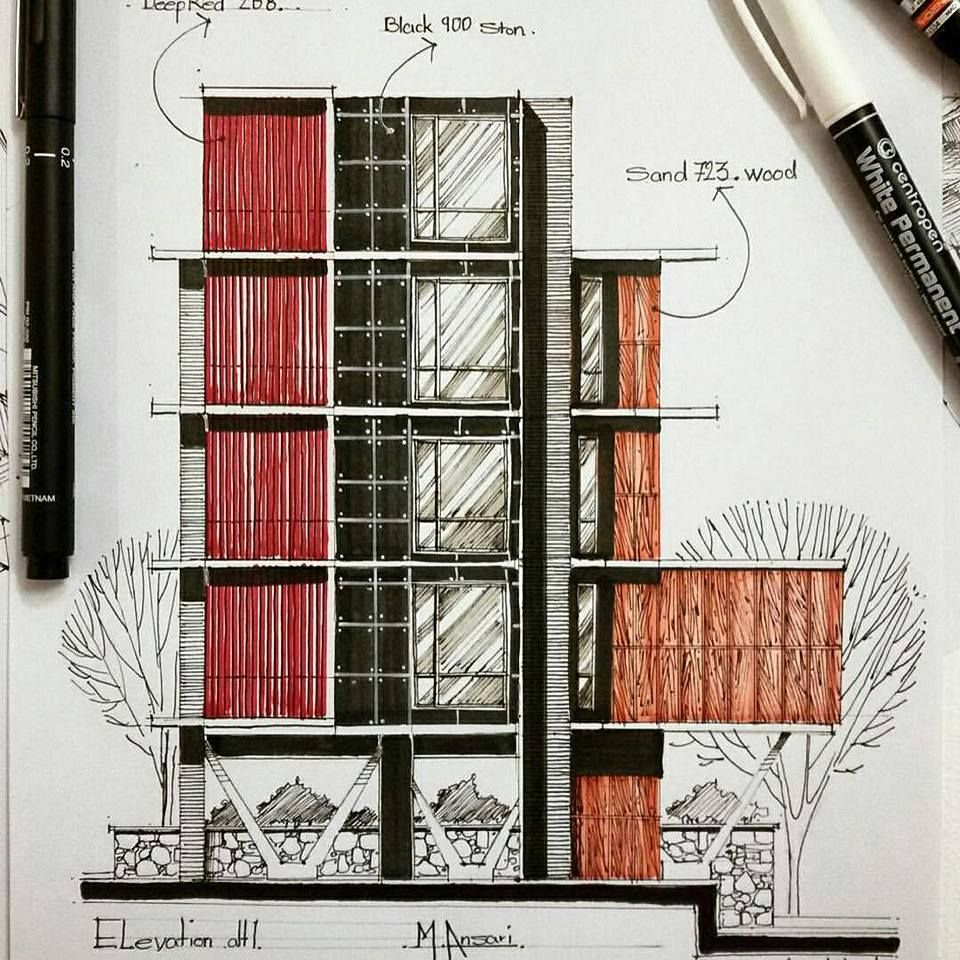 Sketching Ideas For The Architectural Facades Design Engineering Feed Architecture Drawing Diagram Architecture Architecture Portfolio