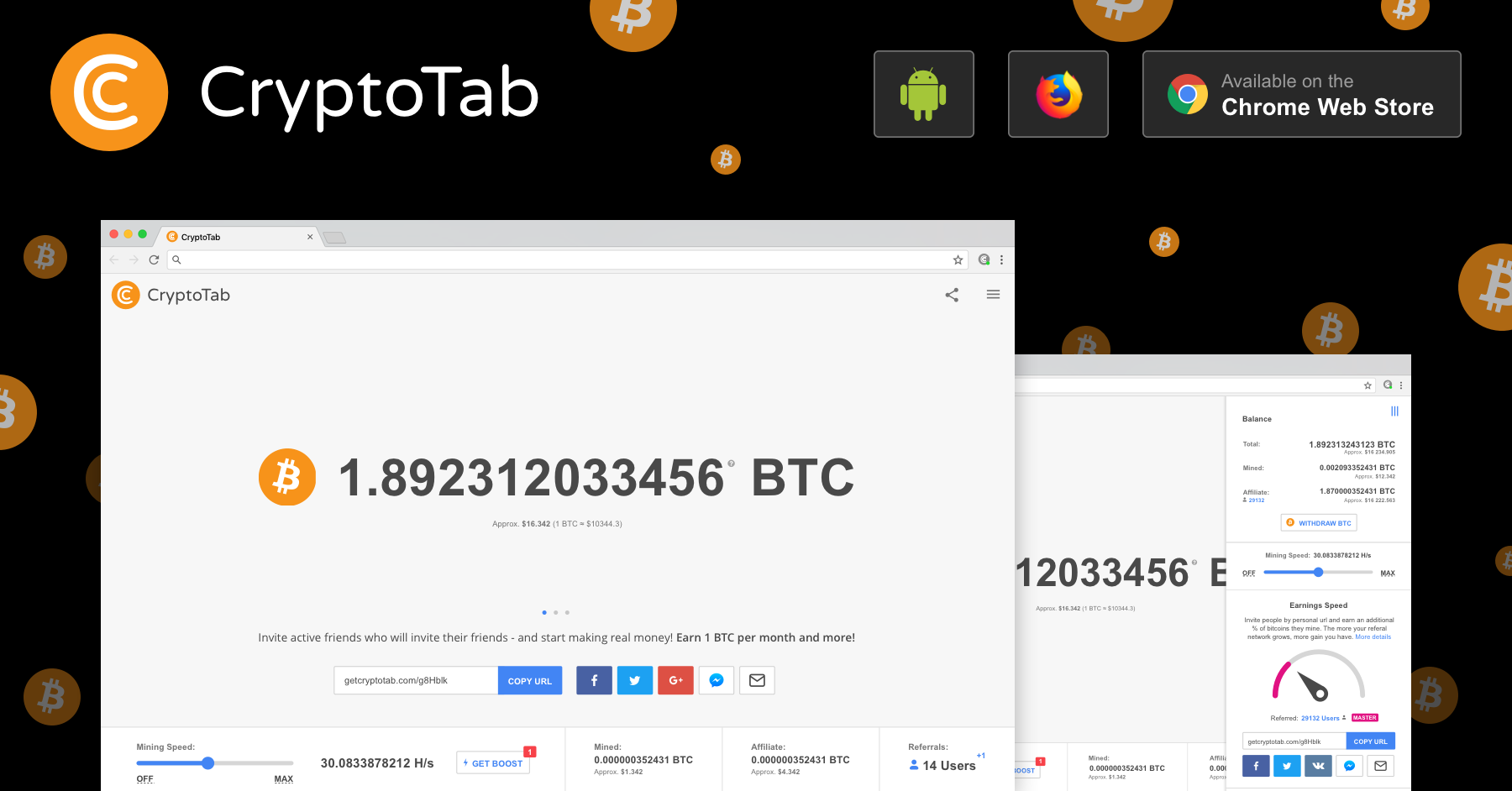 Add CryptoTab to your Chrome and start earning Bitcoins