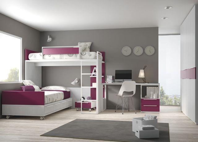 Kids touch 61 litera y escritorio juvenil literas y cama for Habitacion con litera