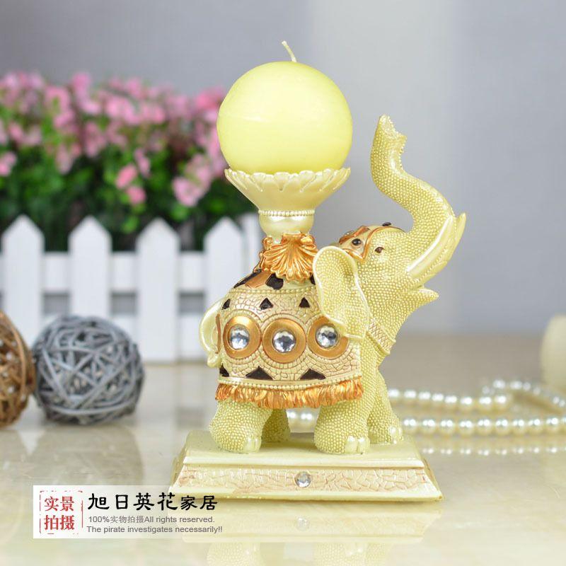 Elephant mousse fashion candle table lamp vintage wedding props resin decoration