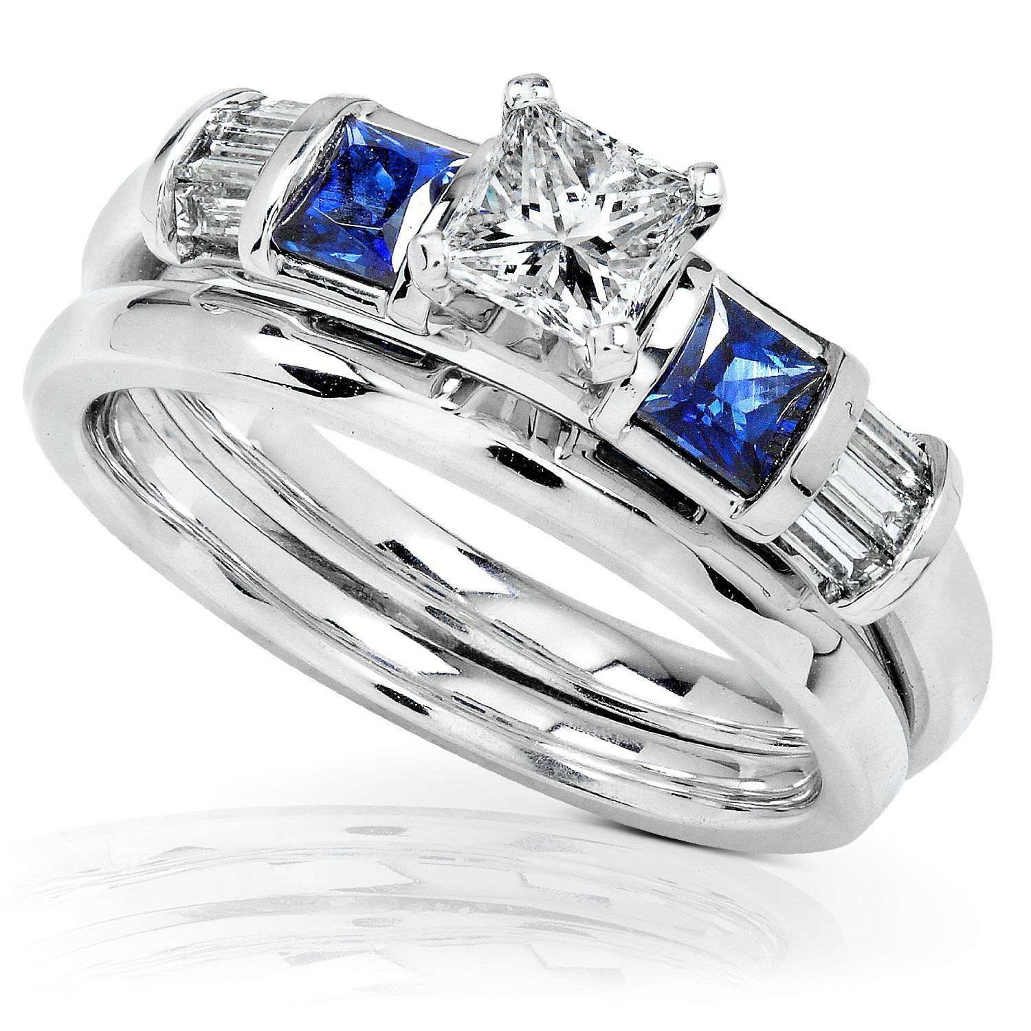 Amazon Com 1 Carat Blue Sapphire Diamond Wedding Rings Set In