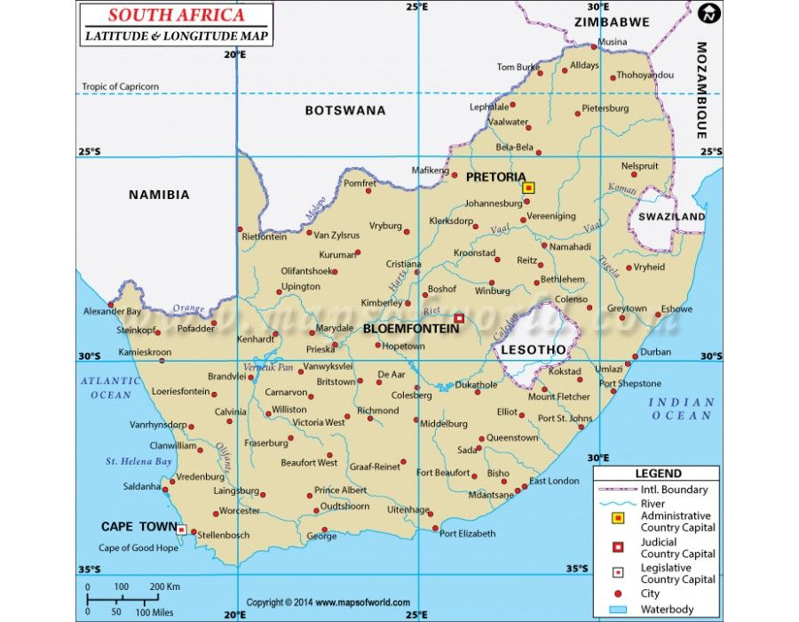 Buy South Africa Latitude and Longitude Map | Country Maps