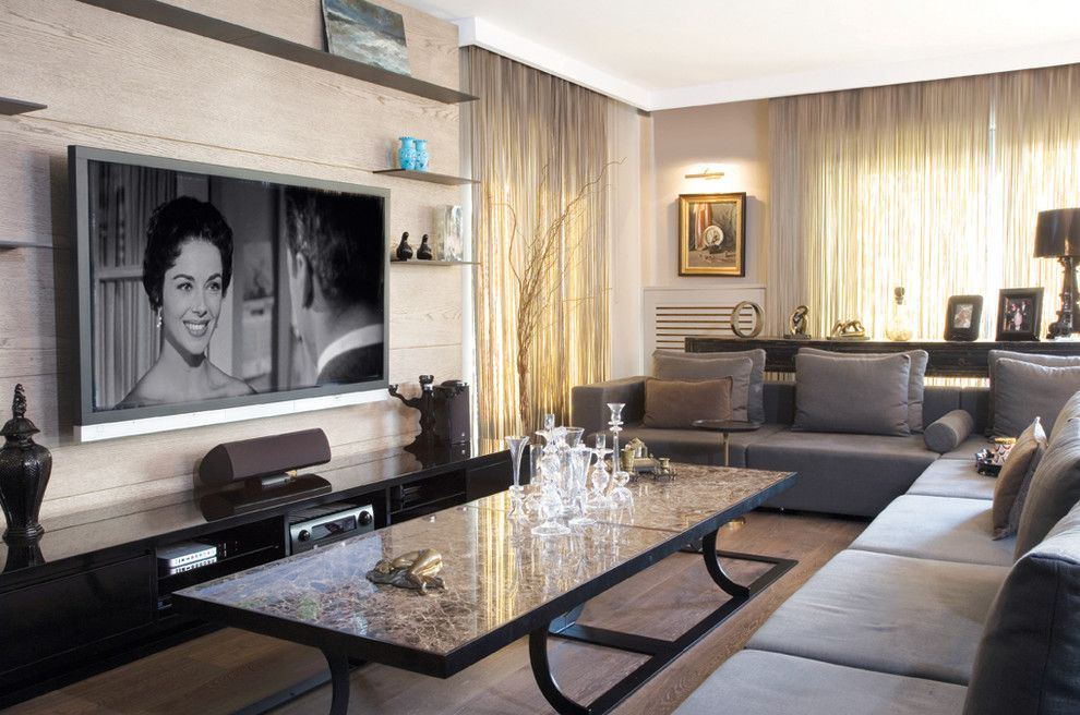 How high should your TV be - Read this on Houzz. Contemporary Family Room  by esra kazmirci mimarlik