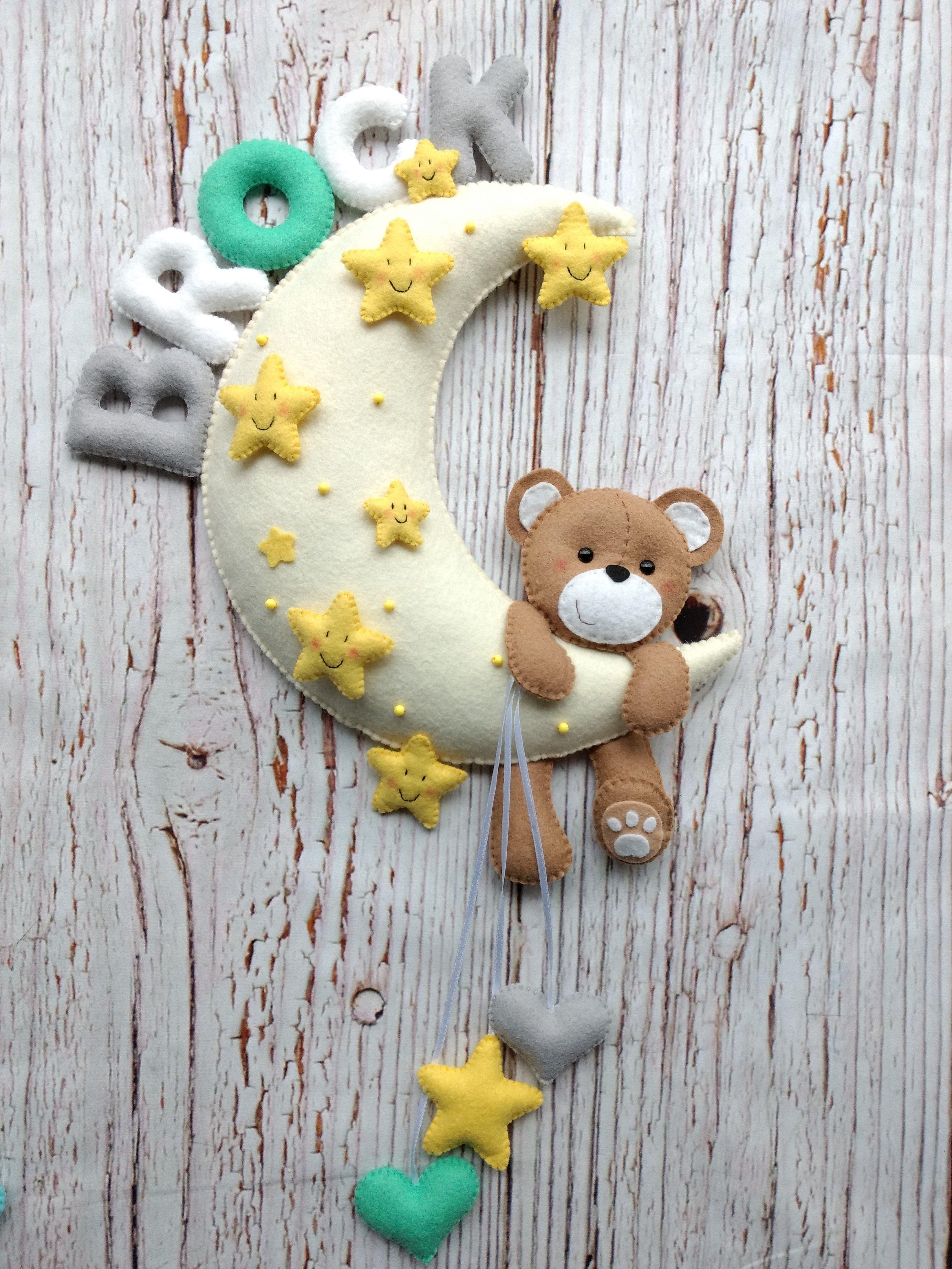 Baby Room Decor Personalized Felt Moon Teddy Bear Handmade Felt Hanging Door Decoration Nursery Wall Hanging Bear On The Moon Felt Decor Felt Decorations Baby Room Decor Handmade Felt
