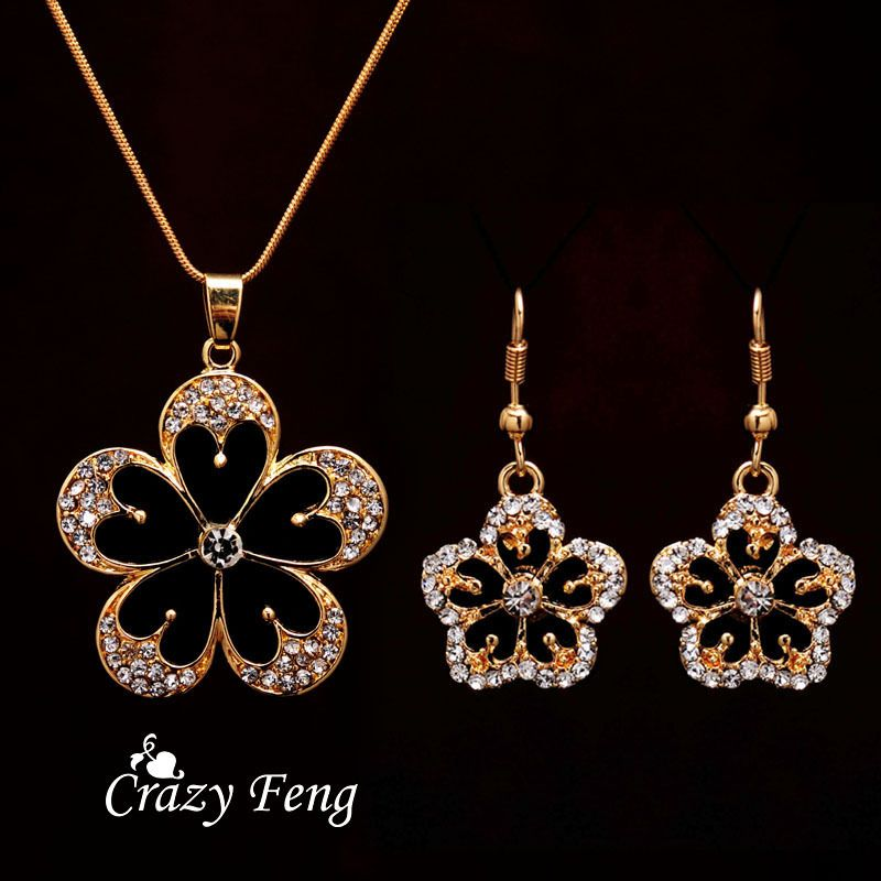 Free shipping Crystal Flower Pendant Necklace Earrings Trendy ...