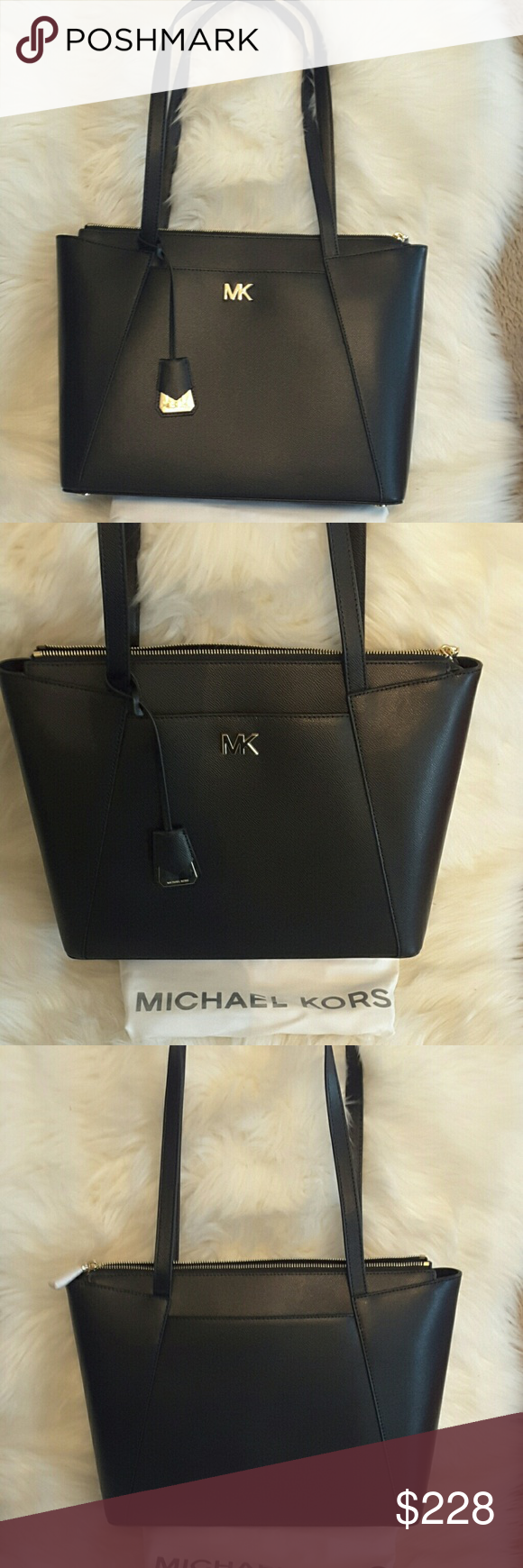 d67201a54729 Michael kors Maddie leather tote Michael kors Maddie black MD EW TZ TOTE  leather 30S8GN2T2L Approx meas bottom width 13