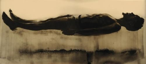 ABDI FARAH    Baptism, 2010, Charcoal, dirt and black pigment on paper,44 x 96 in. (111.8 x 243.8 cm).