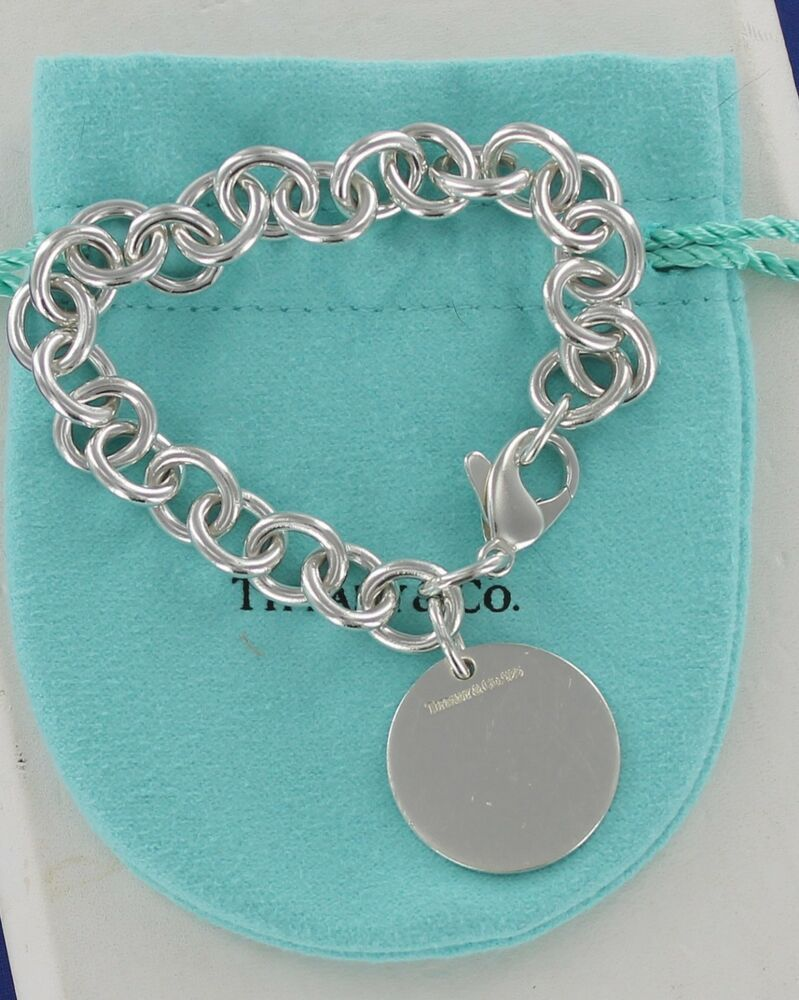 d71337006 Sterling Silver Plain Round Tag Charm Bracelet 7.5