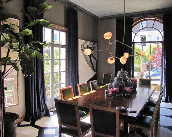 Dark Gray Walls And Navy Curtains Unique Dining Room Curtains