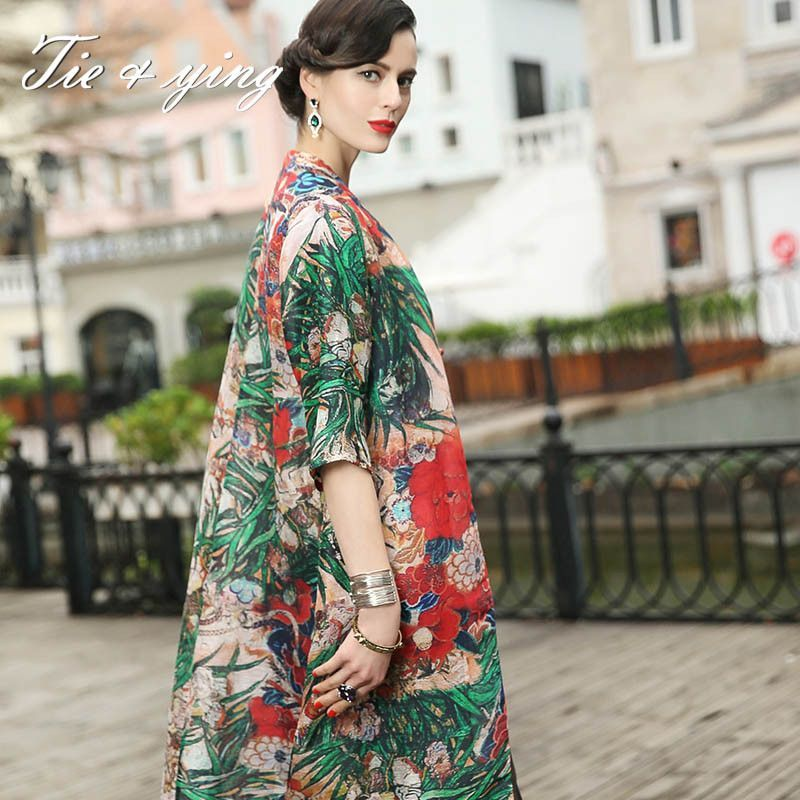 High-end women silk floral dress summer runway new Chinese style vintage royal print plus size midi linen loose dresses 3XL