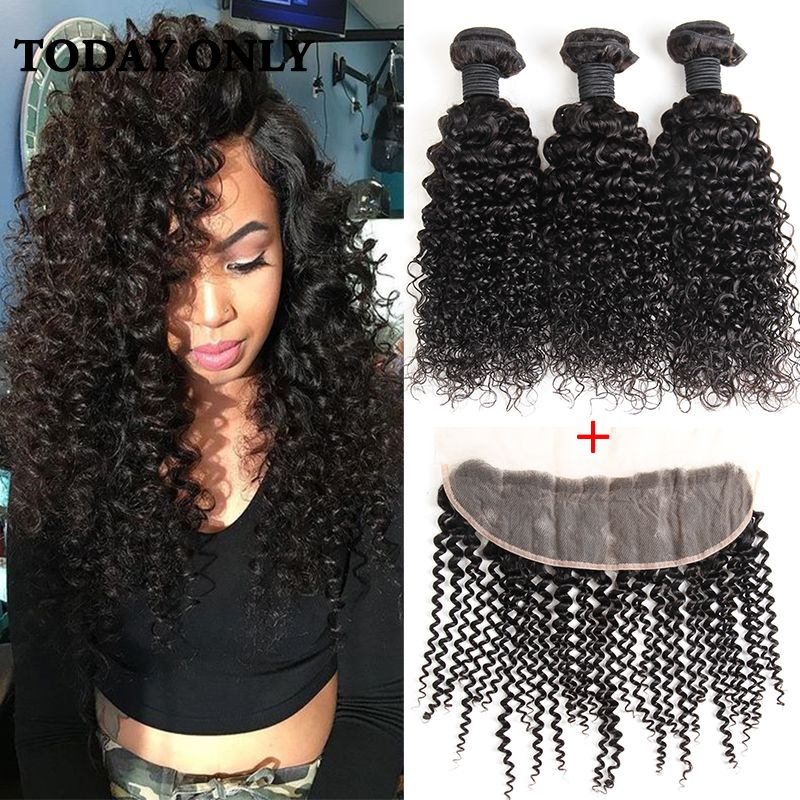 Queen Beauty Hair Pre Plucked Frontal Closure with Bundles Brazilian Kinky Curly Virgin Hair 3 Bundles with Frontal Closure