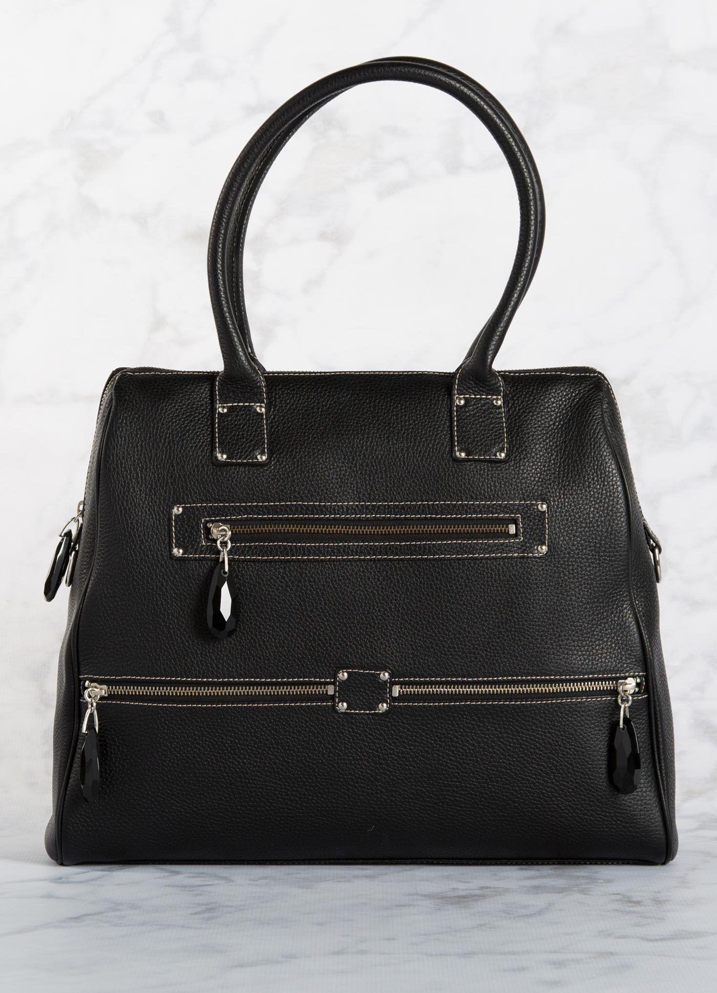 Boston Tote, Black Leather