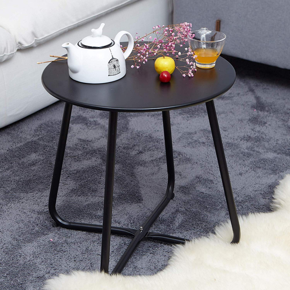 Amazon Com Grand Patio Steel Patio Coffee Table Weather Resistant Outdoor Side Table Small Round End Table Patio Side Table Outdoor Side Table Side Table